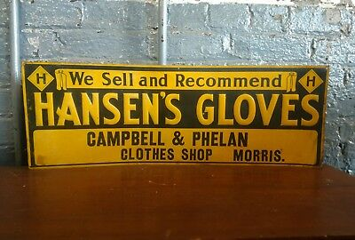 Hansens Work Glove Sign Union Label Automobile Advertising Sign 1920s Clothing