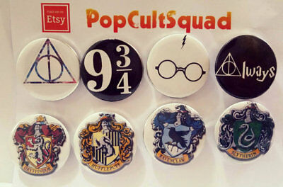 8 x Harry Potter 32mm Button Badge Pins House Badges