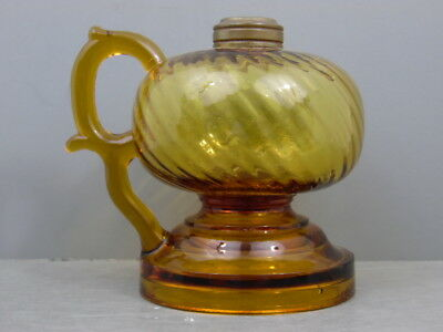 Antique Unusual Patented Collar Honey Amber Optic Swirl Footed Finger Oil Lamp