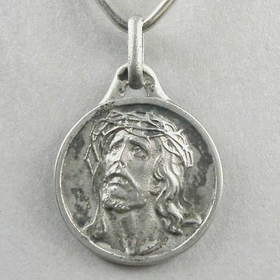 French, Antique Religious Sterling Pendant. Jesus Christ, Crown of thorns. Medal