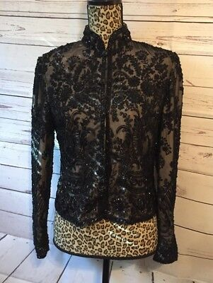 Adrianna Papell Evening 100% Silk Embellished Fully Lined Party Jacket Small