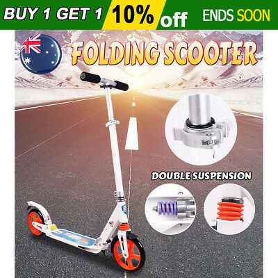 Folding Scooter Commuter Big Wheel Suspension Fashion Scooter Adult Child White