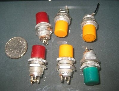 """6 pc Used Dialco Aircraft Color Indicator Lamps 1/2"""" Panel Mount type 387 Bulbs"""