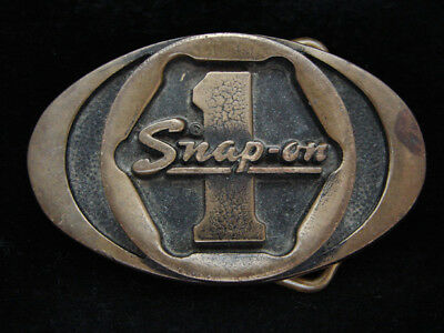 PA05127 VINTAGE 1970s **SNAP-ON** TOOLS COMPANY SOLID BRASS BTS BELT BUCKLE