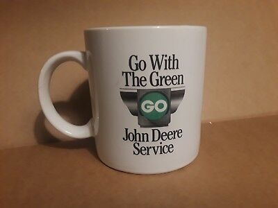 "JOHN DEERE COLLECTORS White Mug ""Go With The Green"" with Model D TRACTOR ceramic"