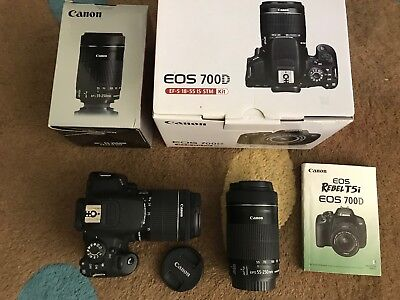 Canon EOS 700D  Digital Camera 18.0 MP w/ 18-55 IS STM and 55-250mm Lens