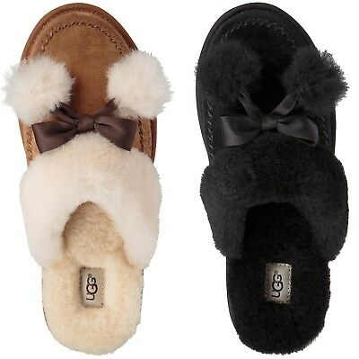 UGG Hafnir Pom Pom Slippers Women's Suede and Sheepskin Slippers