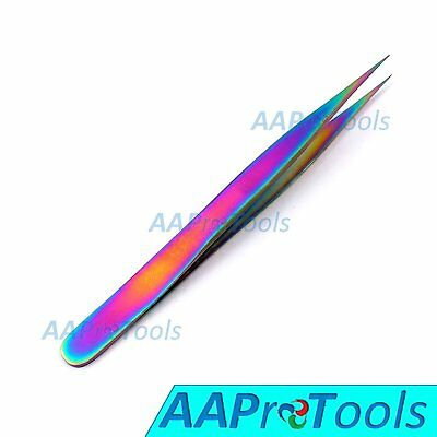 Stainless Steel Multi Rainbow Color 3D Eyelash Extension Tweezers Straight