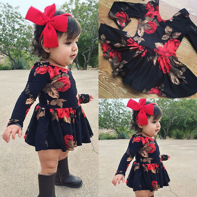 Newborn Infant Baby Girl Floral Long Sleeve Party Pageant Prom Dress Clothes USA