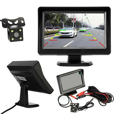 "4.3"" TFT LCD Monitor Car Rear View Reverse Night Vision Backup Camera Kit Top"