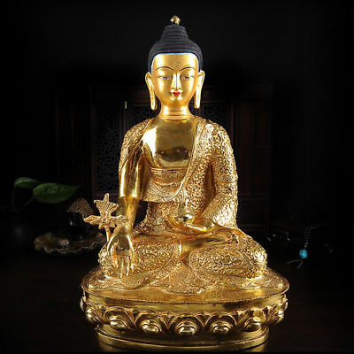 "12"" Antique Tibetan Buddhist copper gilt hand painting Medicine Buddha statue"