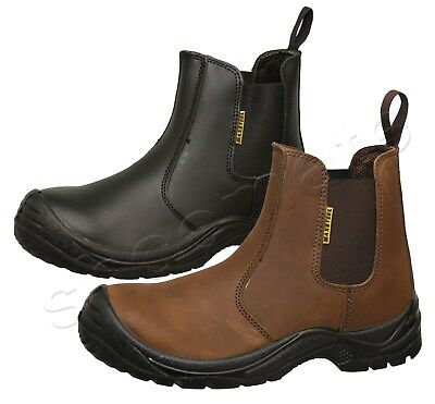 New Mens Lightweight Chelsea Dealer Ankle Steel Toe Cap Safety Work Boots Shoes