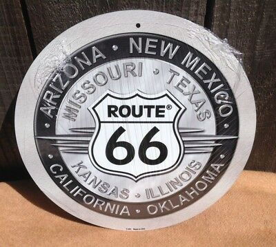 Arizona New Mexic Route 66 Round Metal Sign Vintage Garage Bar Wall Decor Rustic