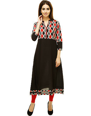 Indian Bollywood Wedding Anarkali Salwar Kameez Women Printed Kurti Top Tunic