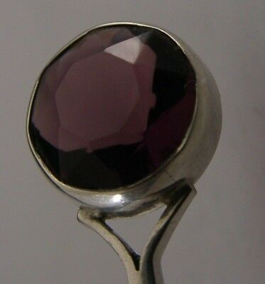 Superb Scottish Solid Sterling Silver Amethyst Spoon 1956 Robert Allison