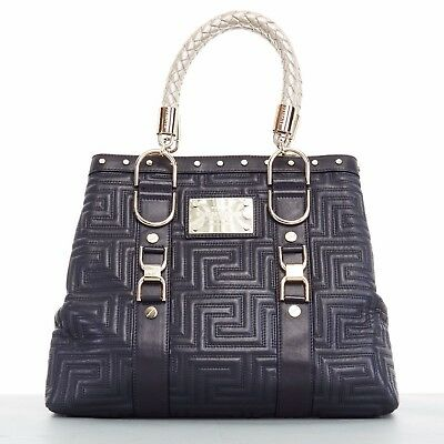 e62d78791650 GIANNI VERSACE COUTURE Greca quilted black leather gold braid large tote bag