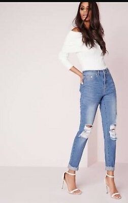 Missguided Petite Riot High Rise Ripped Jeans 8