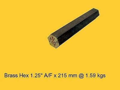 "Brass Hex 1.25"" A/F x 200 mm-Lathe-Steam-Mill-OG"