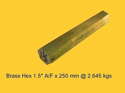 "Brass Hex 1.5"" A/F x  250 mm-Lathe-Steam-Mill-OG"