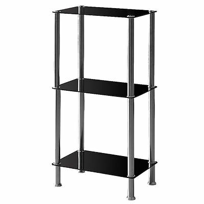 Glass Shelf Unit 3 Tier Black Glass Corner Display Table Storage Stainless  Steel