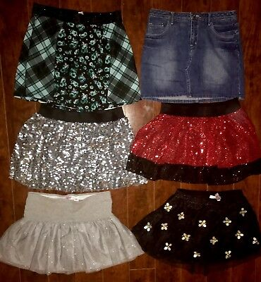 LOT GIRLS SKORTS SIZE 16 ALL JUSTICE Black Red Silver Sequins Party Holiday
