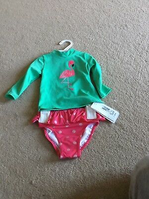 BNWT - Girls M&S Pink And Green Swim Set - Size 6-9 Months