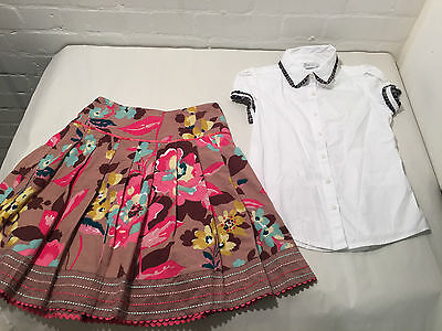 Lot Of 2 Monsoon Girls Skirt Age 10 - 12 Years And Epk White Shirt - Vr