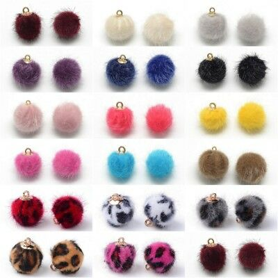 5 Faux Fur Pom Pom Ball Charms Jewellery Making Findings - 3 Sizes - lady-muck1