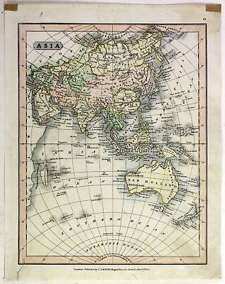 1813 Old Antique 19th Century Map Asia C Smith China Japan New Holland Zealand