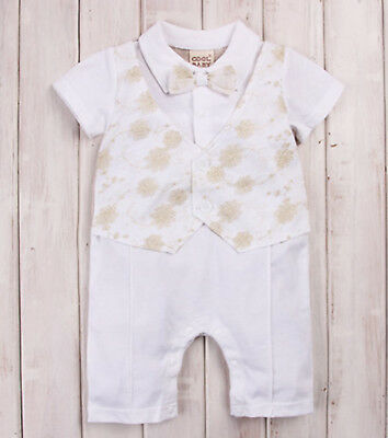 Boy Kid Baby Christening Wedding Party Bowtie Romper Bodysuit Outfits Suits