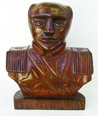 Vintage Mahogany Wood Folk Art Primitive Carving Haitian General Bust Military