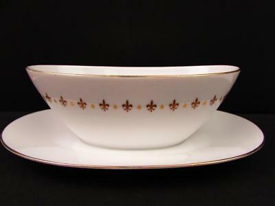 Prestige by Sango Gravy Boat with Attached Underplate Gold & Brown Fleur De Lis