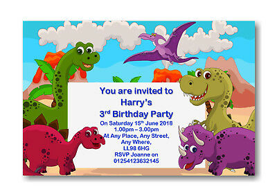 Cards Stationery 12 Personalised Dinosaurs Birthday Party Invites Invitations Boy Or Girl Rf BD23
