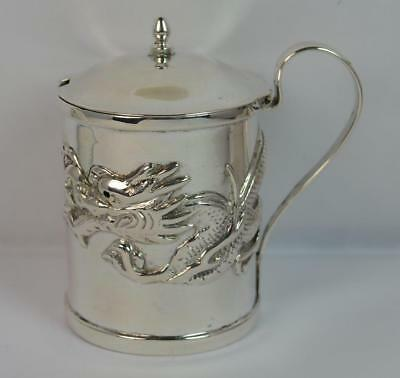 Wang Hing Chinese Solid Silver Pot with Dragon Design