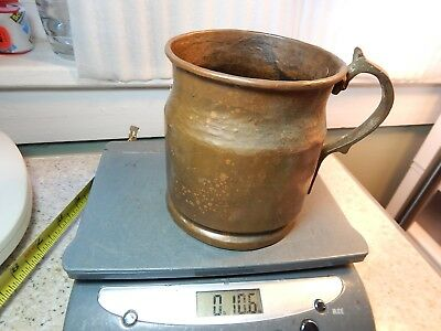 "Vintage Antique? 4 3/4""Tall unmarked Hammered Copper Handled Cup Copper Handle"