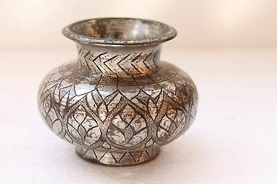 Antique Old Hand Crafted Brass Self Inlay Engraved Round Water Pot Lota NH3198