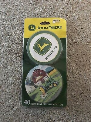 John Deere Absorbent Beverage Coasters (40 Coasters) New