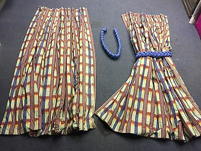 Two Pairs of Long Multi Colour Stripe Pattern Curtains + Matching Tie backs - VR
