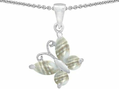 Star K Butterfly Pendant Necklace Made with Sea Shell Sterling Silver