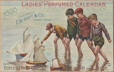 Victorian Trade Card-Hoyt's German Cologne-Lowell, MA-Boys w/ Toy Sailboats