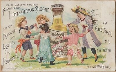 Victorian Trade Card-Hoyt's German Cologne-Lowell, MA-Cashtown, PA-Dancing Kids