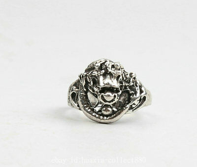 29MM Collect Chinese Miao Silver Animal Dragon Play Ball Fashion Jewelry Ring