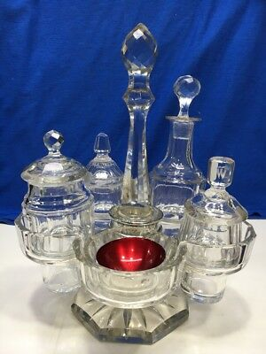 VTG Elegant Victorian Condiment Glass Bottles Jars Serving Stand Carrying Set