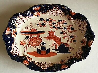 Unique Staffordshire Victorian HOBSON 'CHUSAN' Patterned Dish