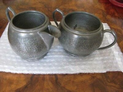 Antique Hammered Pewter By My Lady, Milk Jug, And Sugar Bowl