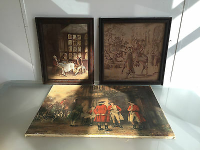 Lot Of 3 Bennett 18Th Century Style Gentleman's Prints + Tapestry In Frame - Vr