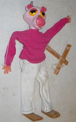 Pink Panther Vintage String Puppet Marionette Chalkware Wood Mexico