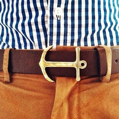 JCrew Crewcuts Boys Gold Anchor Brown Leather Belt Size 12/14