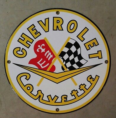"Chevrolet Corvette 11 3/4"" Porcelain/ Metal Sign - Sports Car - Gas - Oil"