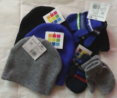 Baby Boy/infant Mixed Lot: 3 Knit Hats, 2 Sets Of Mittens! O/s! New With Tags!